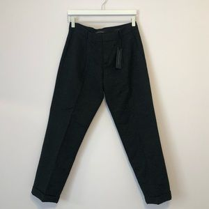 Black jacquard ankle pants